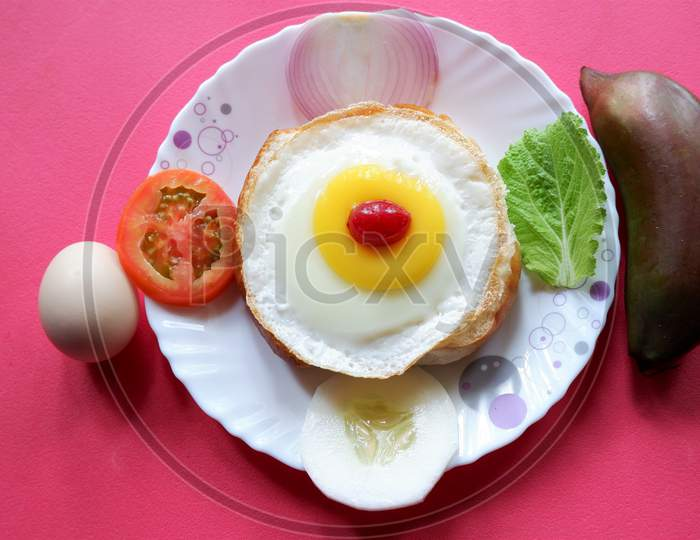 Home made burger with  eggs and  vegetables,special diet