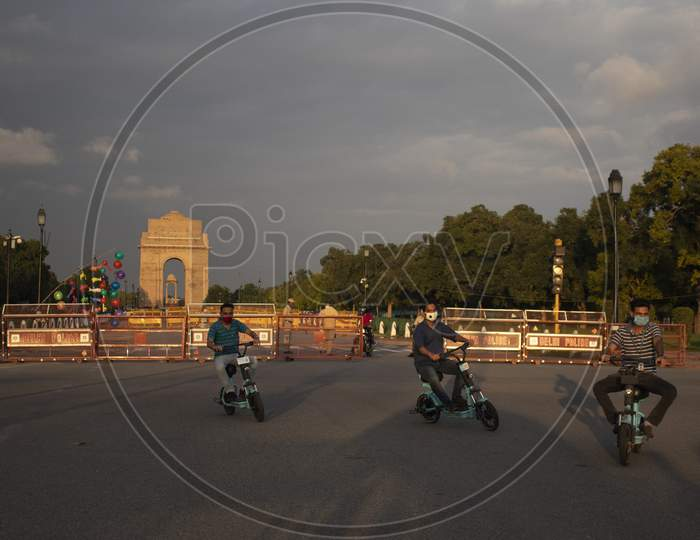 Cyclists Seen At India Gate, Rajpath, On July 22, 2020 In New Delhi, India.
