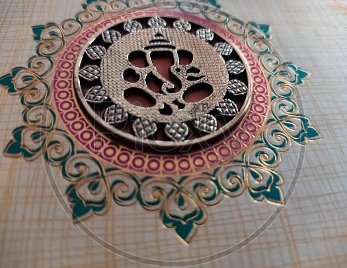Lord Ganesh on wedding invitation card. Lord Ganesh.