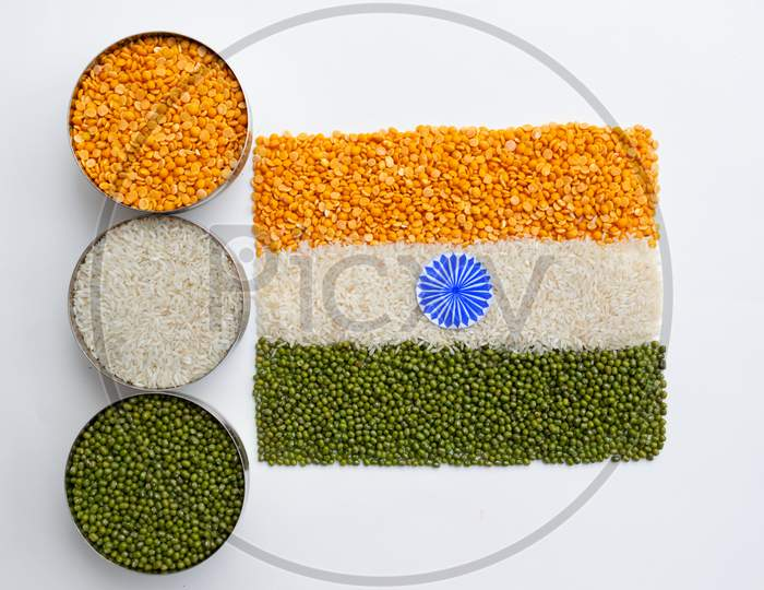 Indian flag, tiranga, tricolor made with arhar dal, rice and moong dal, closeup, independence day, republic day, concept, food, image