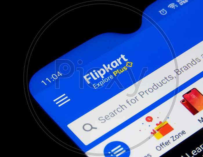 Flipkart App Or Icon On The Mobile Screen.