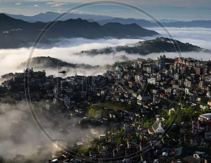 Mist and fog covering Aizawl city, the capital of Mizoram