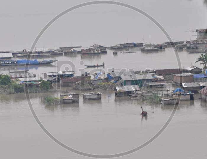 Partially Submerged Houses Are Seen At A Flood-Affected Village In Morigaon District In The Northeastern State Of Assam on July 26, 2020.