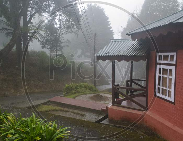 Misty And Fogy Morning With Beautiful Cottages