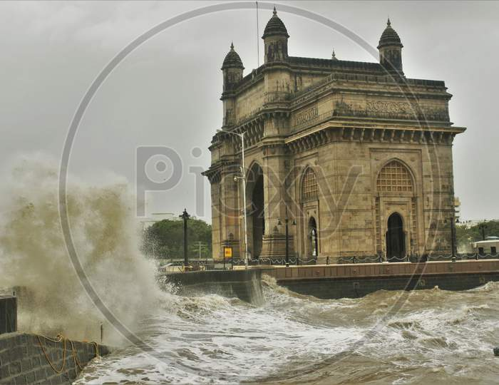 Waves crash at the Gateway of India during high tide in Mumbai, India on July 6, 2020.