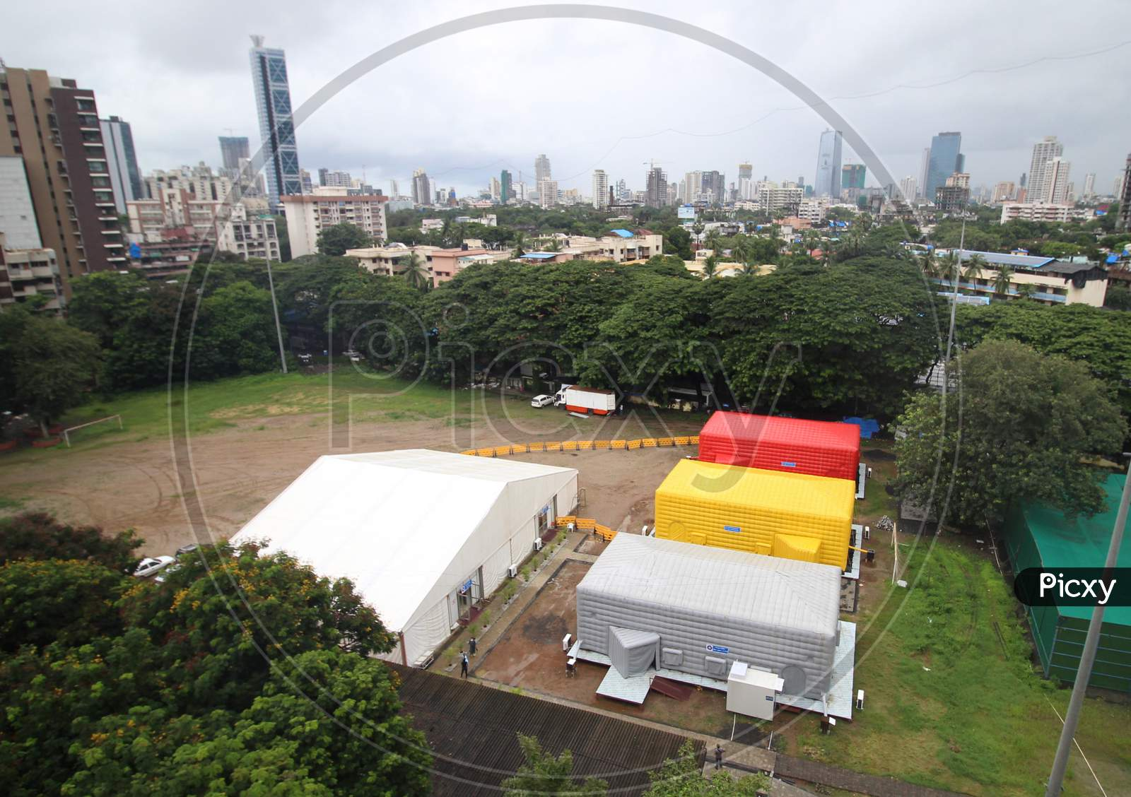 A general view of a temporary facility created to facilitate cancer patients diagnosed with coronavirus disease (COVID-19) in Mumbai, India on July 30, 2020.
