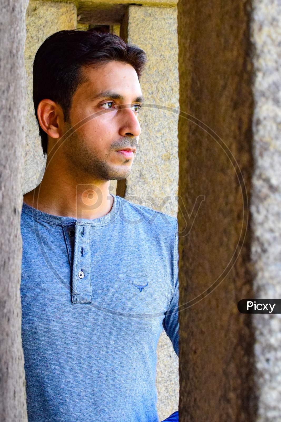 New Delhi India – March 3 2020 : Man Portrait, Smart Casual Man, Confident Handsome Man Inside Hauz Khas Village Delhi India, Male Indian Model Outdoor Shoot