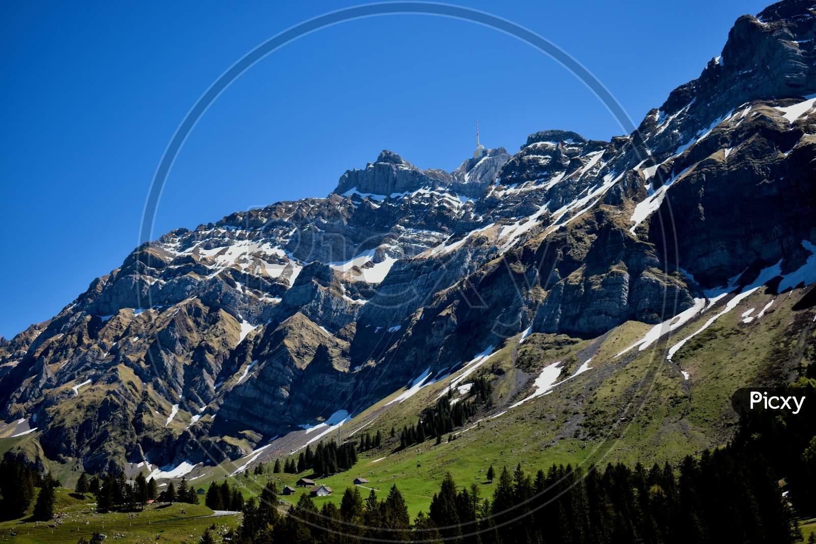 Peak of the mount Säntis in the Alpstein mountains in Switzerland 7.5.2020
