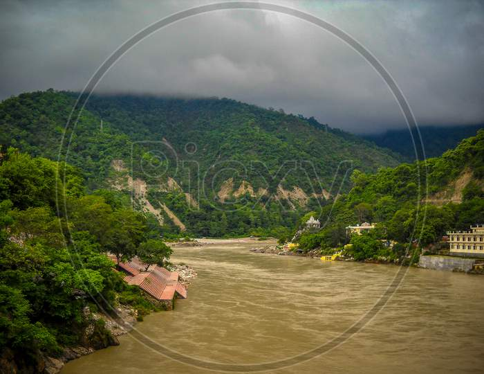 Ganga As Seen In Rishikesh, Uttarakhand. River Ganga Is Believed To Be The Holiest River For Hindus, Rishikesh Valley On The Ganges River, India