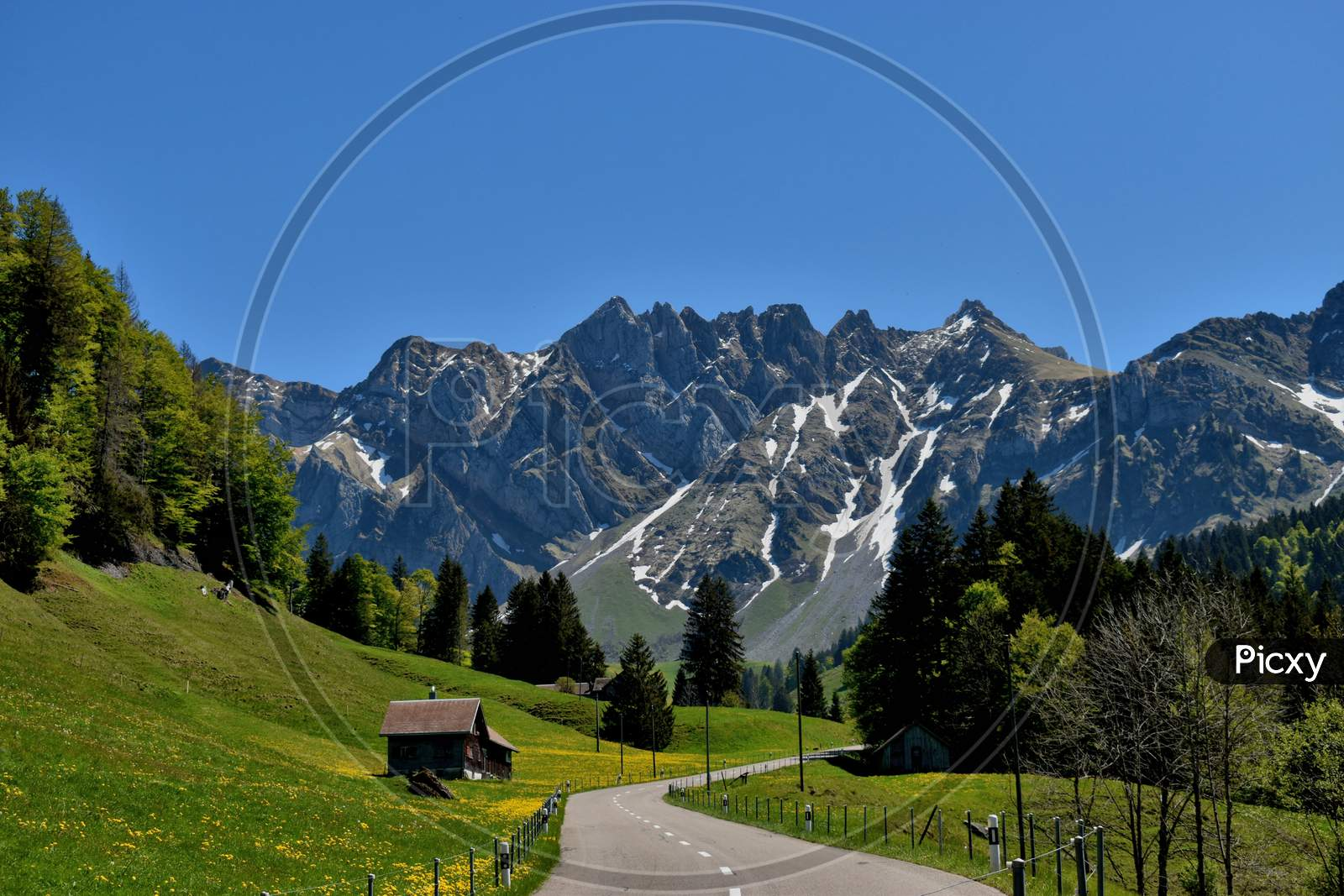 Panorama of the Alpstein mountains in Switzerland 7.5.2020