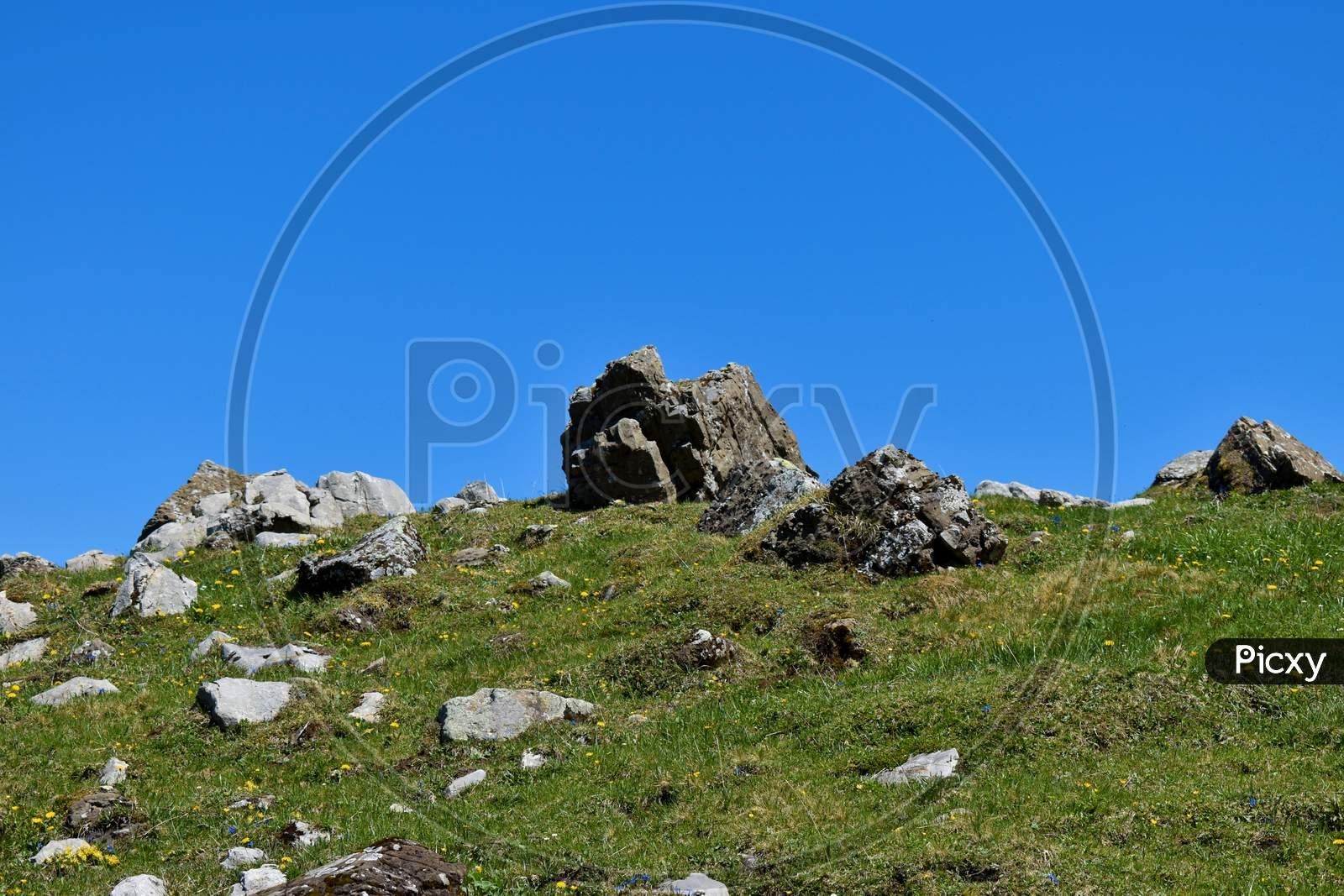 Rural landscape area just below the mount Säntis in Switzerland 7.5.2020