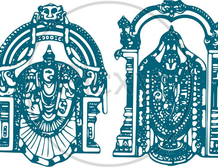 Sketch Of Lord Tirumala Venkateshwara And His Wife Padmavati, Lakshmi Or Alamelu Editable Outline Vector Illustration