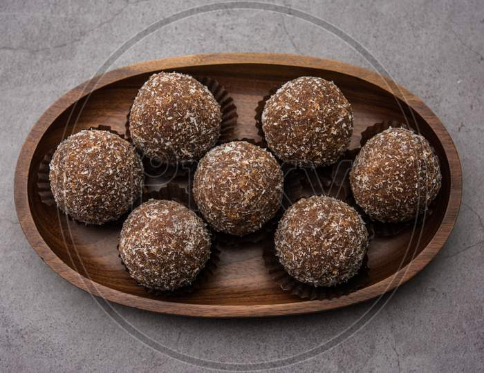 Chocolate Coconut Sweet Laddoo, Laddu Or Ladoo
