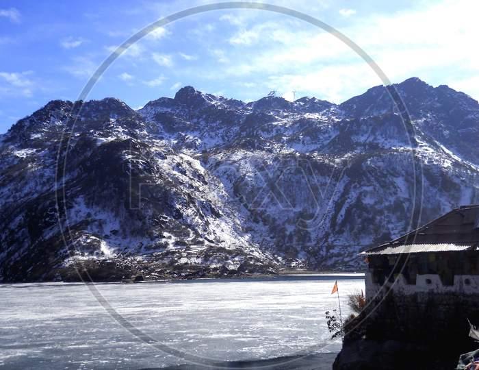 Beautiful frozen Changu(Tsomgo) lake near Gangtok,East Sikkim,India