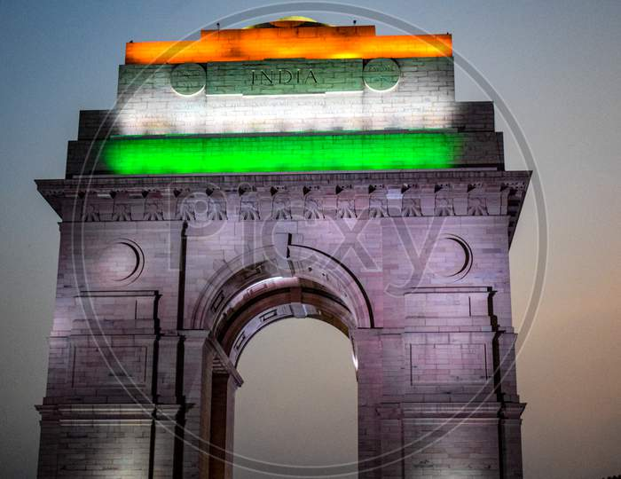 Evening View Of India Gate In Delhi India, India Gate View With Tri Colour At The Top