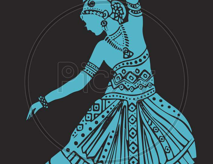 Drawing Of Well Traditional And Ethnic Dressed Lady Doing Bharatanatyam Dance. Silhouette Or Outline Editable Illustration Of Dancing Pose