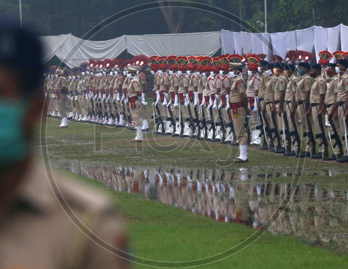 Policemen take part in  full dress rehearsal ahead of India's 74th  Independence day in Chandigarh August 13, 2020