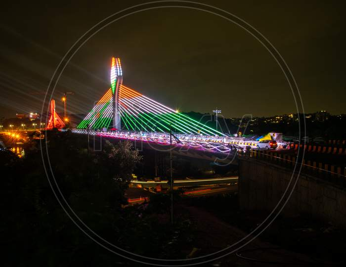 Durgam Cheruvu Cable bridge displaying Indian Tri Colours ahead of 74th Independence Day in Hyderabad, August 14, 2020