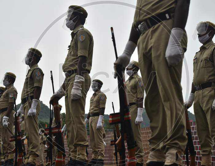 Police Personnel Rehearse For The Upcoming 74Th Independence Day Parade At Indira Gandhi Municipal Corporation Stadium, In Vijayawada, India, August 12, 2020.