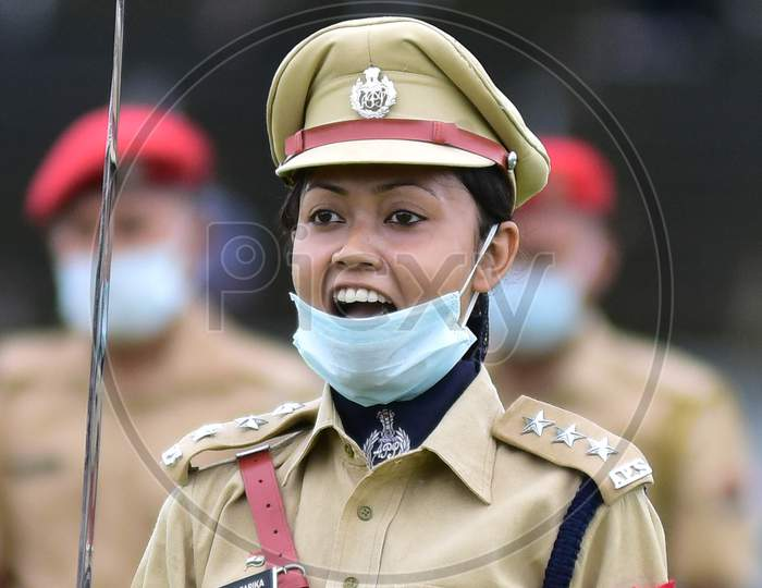 Parade Commander Shouts A Command During A Parade On The Occasion of 74th Independence Day Celebrations At Nurul Amin Stadium In Nagaon District Of Assam On August 15, 2020