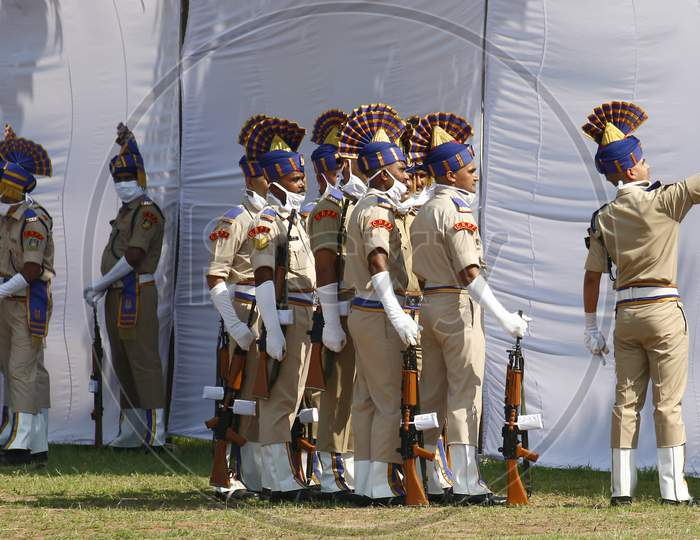 Policemen click a selfie after taking part in India's 74th Independence Day celebrations In Chandigarh August 15, 2020