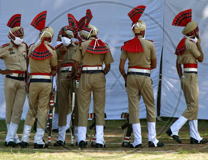 Policemen stand after taking part in India's 74th Independence Day celebrations In Chandigarh August 15, 2020