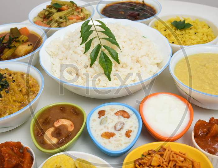 Onam Sadhya for Kerala festival, traditional Indian lunch