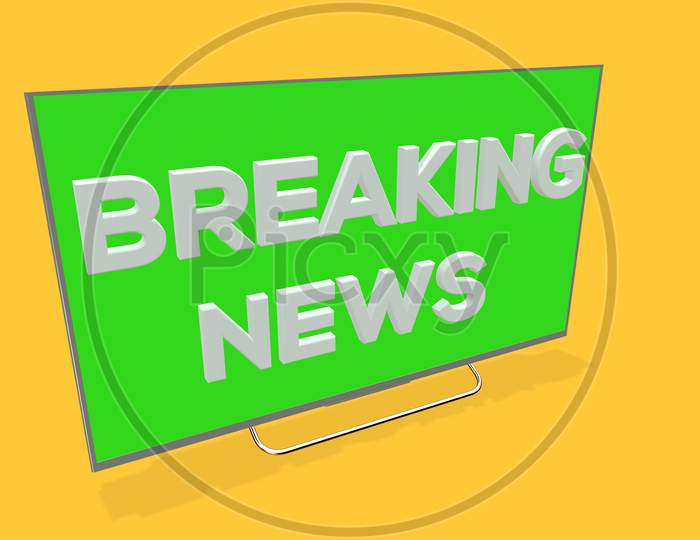 3D Illustration Of A Breaking News Tv Screen On Yellow Background