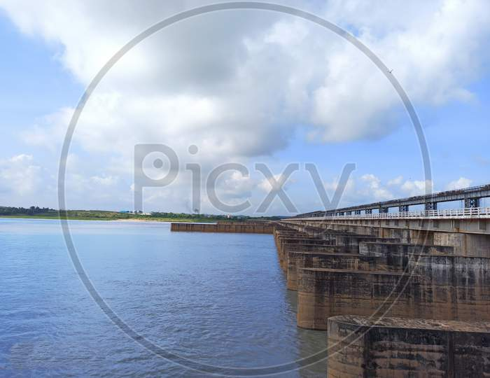 Dam bridge ;Naraj , cuttack ,Odisha / India - 19 August, 2020 ; A horizon view of Naraj dam photo taken in cuttack.