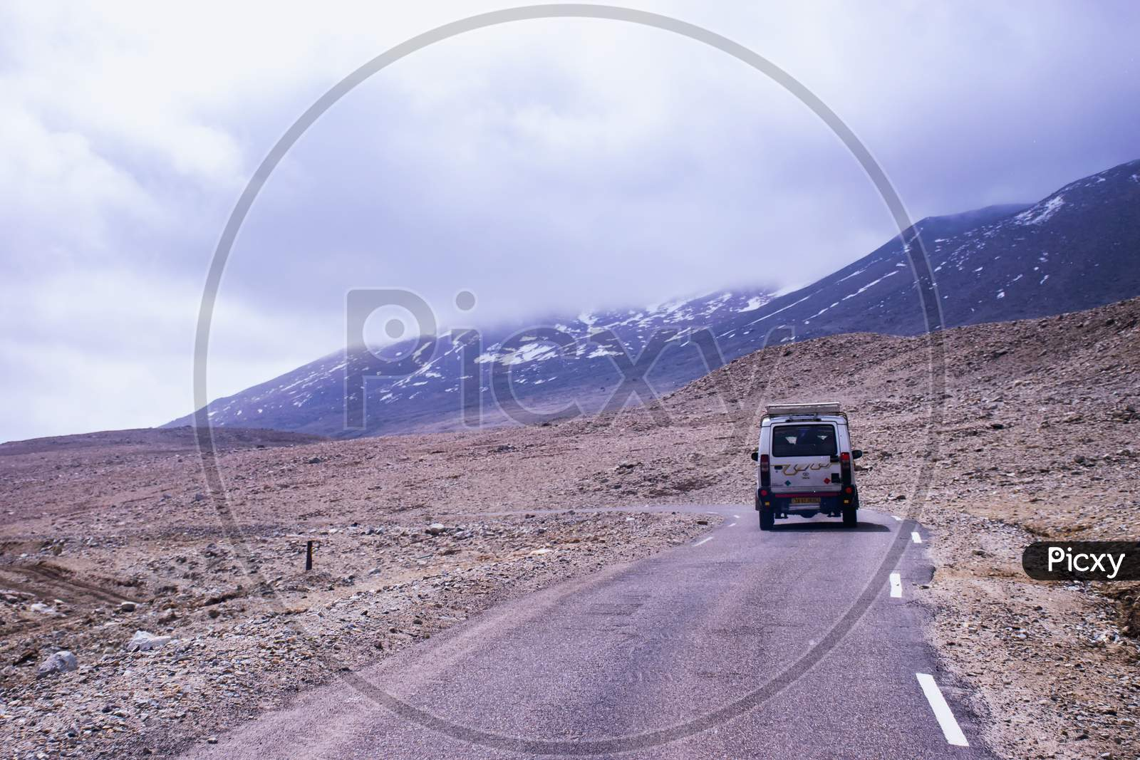 Way to Gurudongmar lake north sikkim. A beautiful Mountain road in from lachen surrounded by himalayan desert view