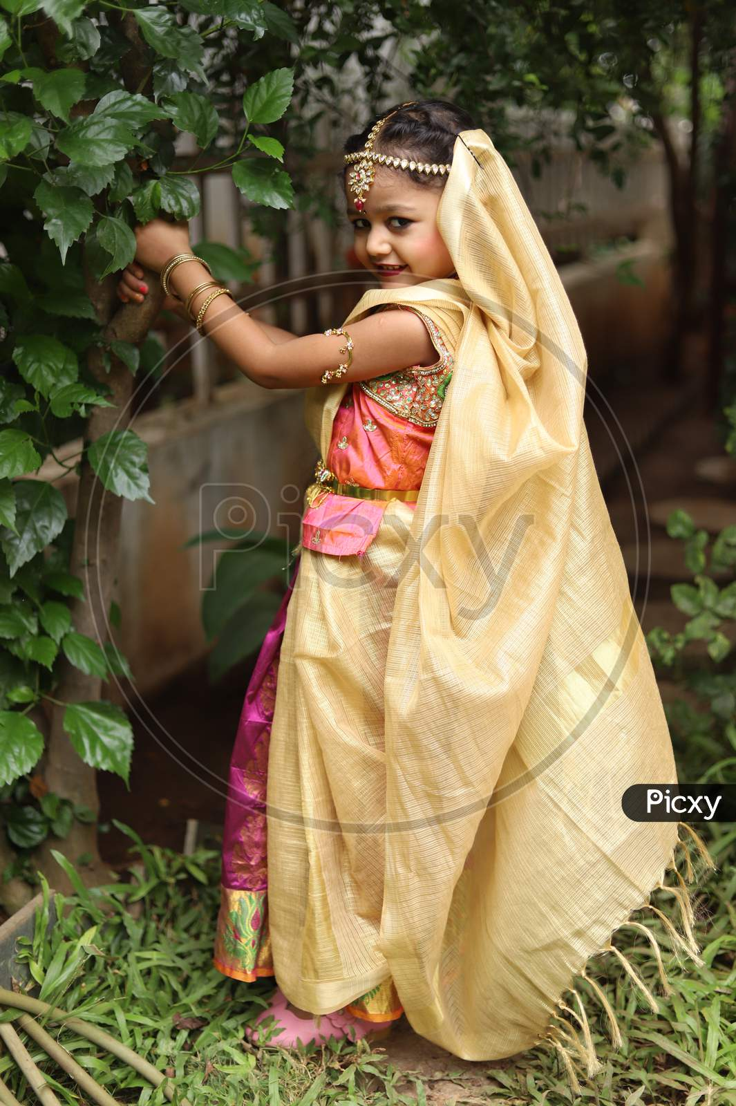 Cute little girl dressed in traditional Indian sari