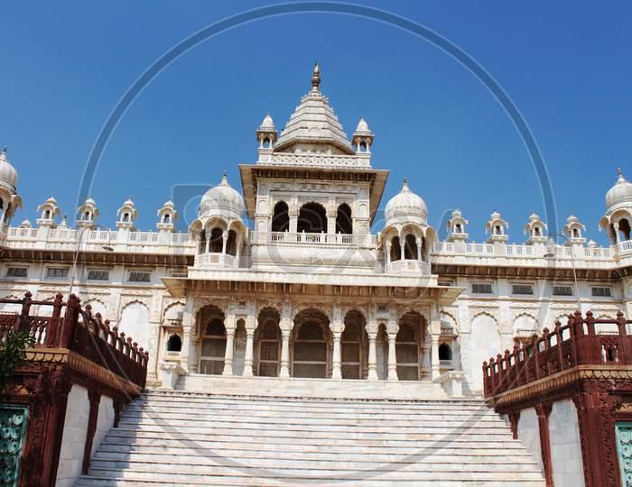 view of Jaswant Thada, a white mausoleum in Jodhpur