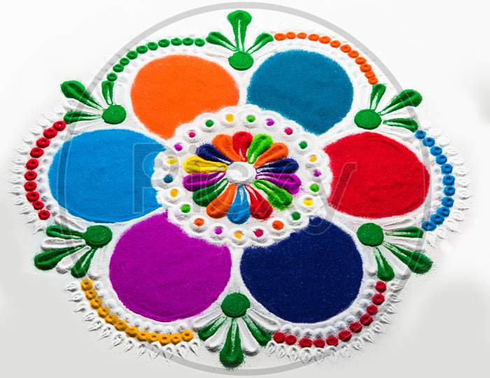 Rangoli Design Made With Colourful Powder For Diwali, Pongal, Onam Festivals In India
