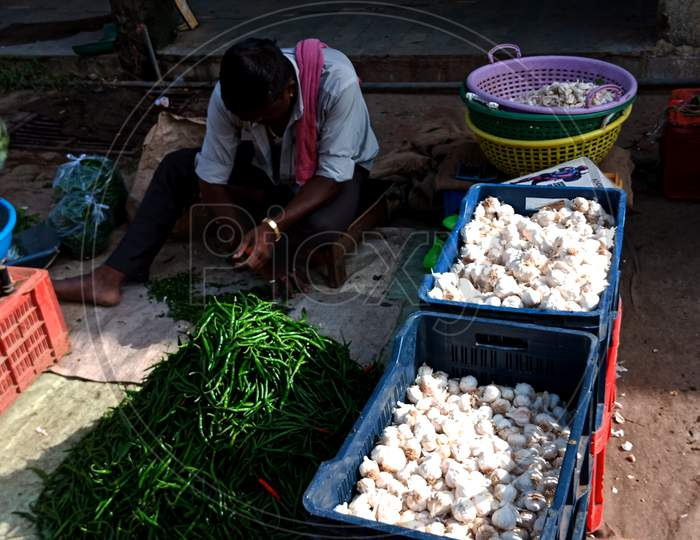 Indian Village Vegetable Greengrocer At Street Shop.