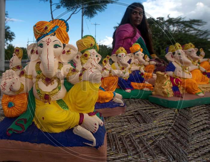 Idols of Ganesha, displayed for sale during Ganesh Chaturthi along the roadside in New Delhi on August 22, 2020.