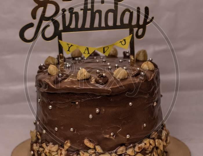 Hazelnut chocloate truffle birthday cake