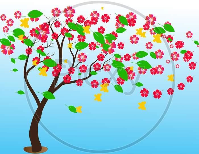 Tree Flowers Illustration