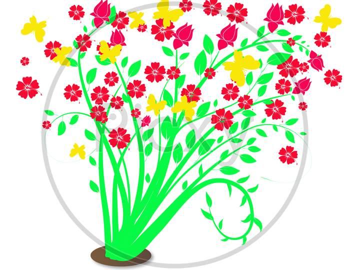 Bunga Raya Flowers Illustration