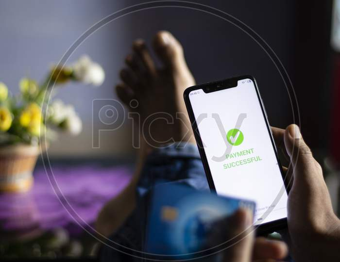 Digital Online Payment Made By An Indian Person From Smartphone At Home