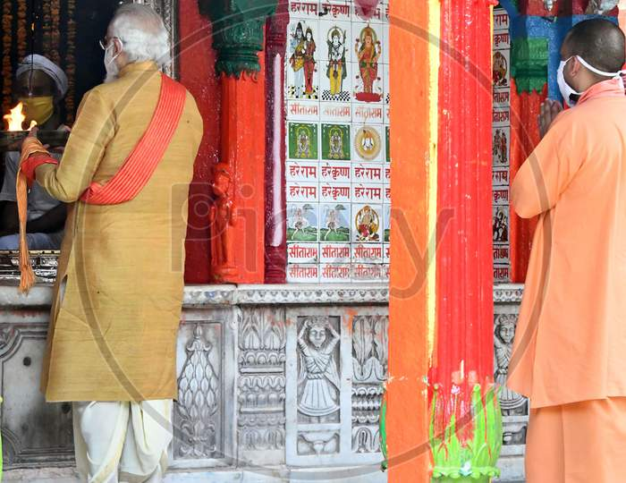 Prime Minister Narendra Modi and Uttar Pradesh Chief Minister Yogi Adityanath visit and perform religious rituals at Hanuman Garhi temple, ahead of the foundation laying ceremony for a Hindu Lord Ram's temple in Ayodhya, India, August 5, 2020.