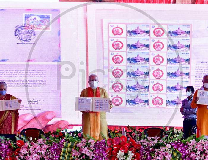 Prime Minister Narendra Modi Launches the commemorative Postal Stamp after the foundation laying ceremony for a Hindu Lord Ram's temple, in Ayodhya, India, August 5, 2020.