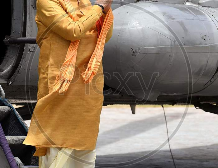 Uttar Pradesh Chief Minister Yogi Adityanath (not in picture) greets Prime Minister Narendra Modi as he arrives, ahead of the foundation laying ceremony for a Hindu Lord Ram's temple in Ayodhya, India, August 5, 2020.