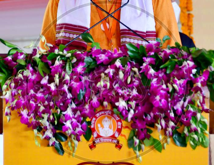 Rashtriya Swayamsevak Sangh (RSS) chief Mohan Bhagwat addresses people after the foundation laying ceremony for the Hindu Lord Ram's temple, in Ayodhya, India, August 5, 2020.