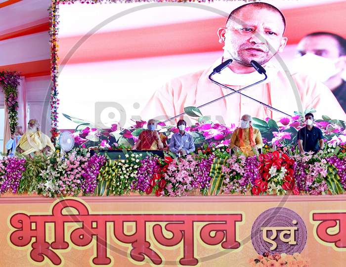 Uttar Pradesh Chief Minister Yogi Adityanath along with Prime Minister Narendra Modi, and Rashtriya Swayamsevak Sangh (RSS) chief Mohan Bhagwat, addresses people after the foundation laying ceremony for the Hindu Lord Ram's temple, in Ayodhya, India, August 5, 2020.