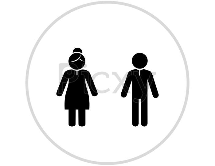 Man And Woman Sign For Restroom Or Toilet