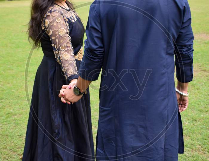 New Delhi India – November 25 2020 : A Couple Pose For Pre Wedding Shoot Inside Lodhi Garden Delhi, A Popular Tourist Landmark In New Delhi India, For Their Pre Wedding Shoot, Pre-Wedding Photo Shoot