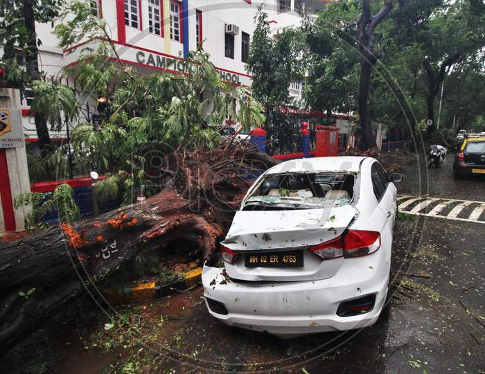 A vehicle gets damaged after an uprooted tree fell on it, after strong winds and heavy rainfall in Mumbai, India on August 6, 2020.