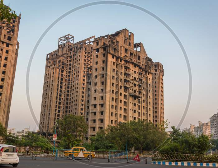 New City Residential High-Rise Building Complex With Flats At Rajarhat. Newtown, India On December 2019