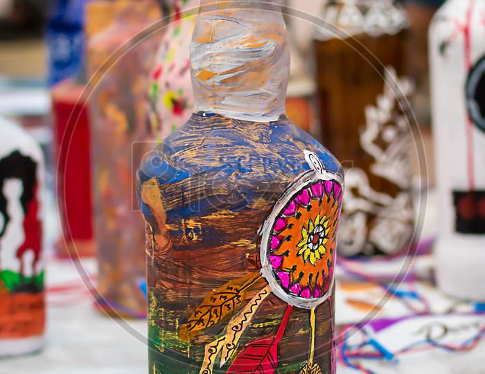 Indian Traditional Handmade Bottle Craft Is Displayed In A Street Shop For Sale. Indian Handicraft And Art