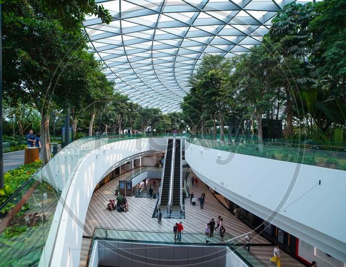 Singapore City, Singapore - The Shopping malls inside Jewel Changi Airport in Singapore 2019